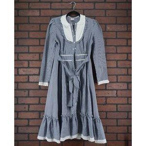 CANDI JONES Vintage 70s Gingham Prairie Midi Dress